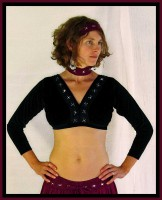 Long Sleeved Black Diamond Choli-1